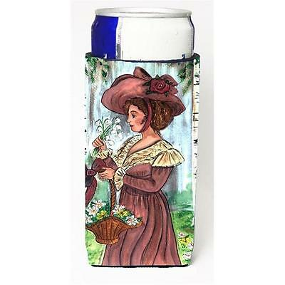 Fancy Lady with Hat and Flowers Michelob Ultra s for slim cans