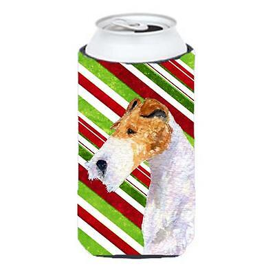 Fox Terrier Candy Cane Holiday Christmas Tall Boy Hugger 22 To 24 oz.