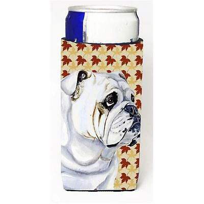 Bulldog English Fall Leaves Portrait Michelob Ultra s for slim cans