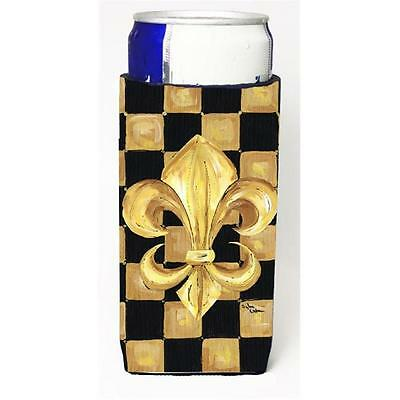Black Gold Checkered Flag Fleur De Lis Michelob Ultra s For Slim Cans 12 oz.