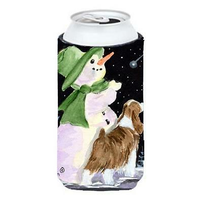 Snowman With English Springer Spaniel Tall Boy Hugger 22 To 24 oz.