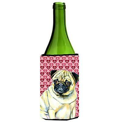 Pug Hearts Love And Valentines Day Portrait Wine Bottle Hugger 24 oz.