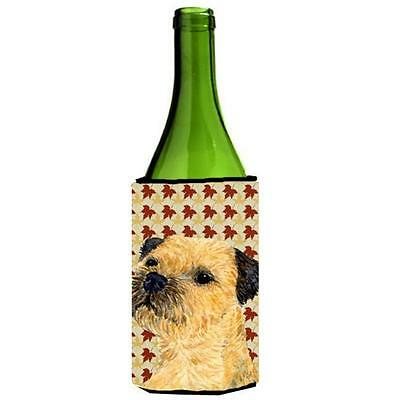 Carolines Treasures Border Terrier Fall Leaves Portrait Wine Bottle Hugger