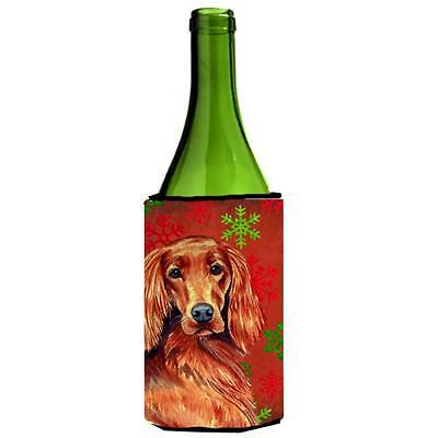 Carolines Treasures Irish Setter Snowflakes Holiday Christmas Wine Bottle Hugger