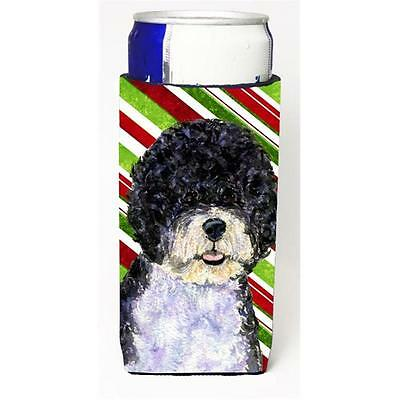 Portuguese Water Dog Candy Cane Holiday Christmas Michelob Ultra s For Slim C...