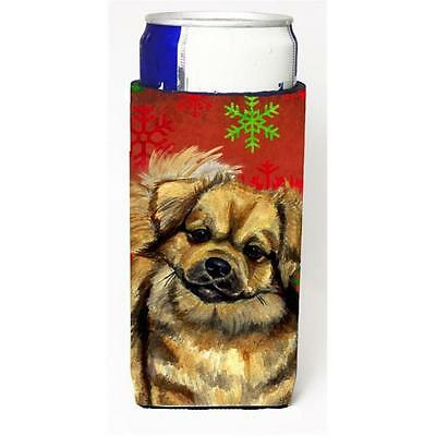 Tibetan Spaniel Red Green Snowflake Holiday Christmas Michelob Ultra s for sl...