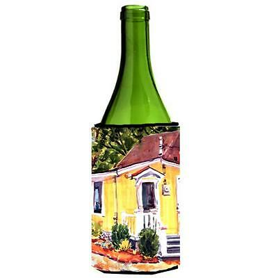Carolines Treasures Yellow Cottage At The Beach Wine Bottle Hugger 24 oz.
