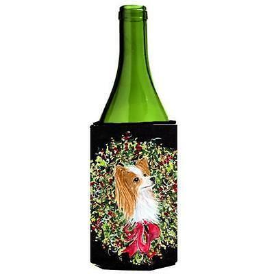 Carolines Treasures Christmas Wreath Papillon Wine Bottle Hugger 24 oz.