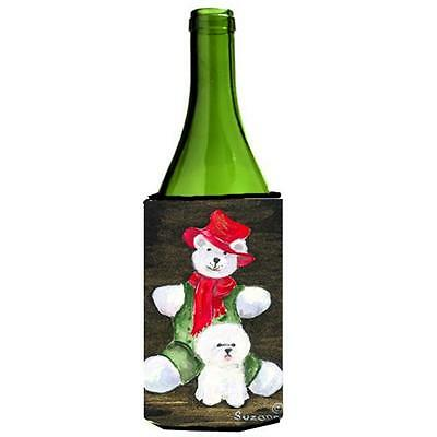 Carolines Treasures Bichon Frise With Teddy Bear Wine Bottle Hugger 24 oz.