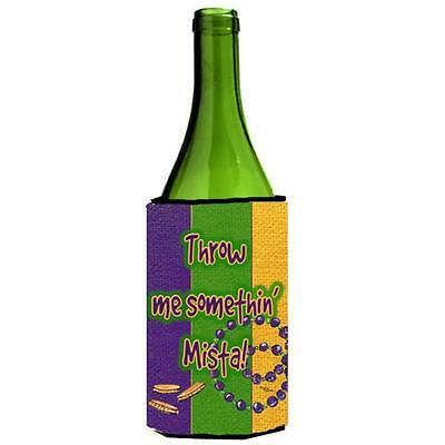 Mardi Grass Throw Me Something Mister Wine bottle sleeve Hugger 24 oz.