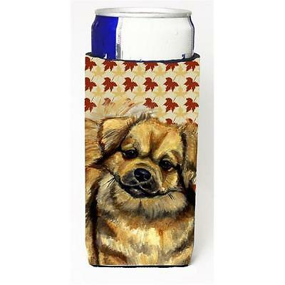 Tibetan Spaniel Fall Leaves Portrait Michelob Ultra s For Slim Cans 12 oz.