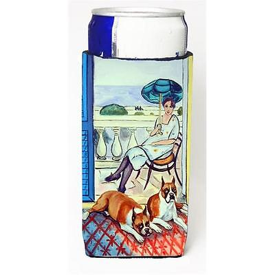 Lady with her Boxer Michelob Ultra bottle sleeves for slim cans 12 oz.