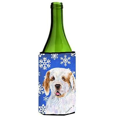 Clumber Spaniel Winter Snowflakes Holiday Wine bottle sleeve Hugger 24 oz.