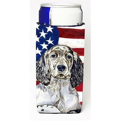 USA American Flag with English Setter Michelob Ultra bottle sleeves for slim ...