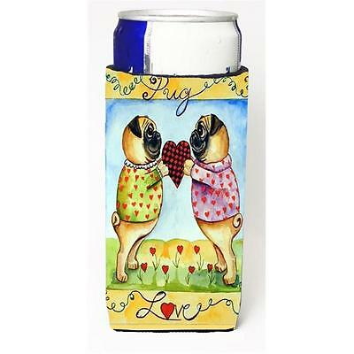Pug Love Pug Love Valentines Day Michelob Ultra bottle sleeve for Slim Can