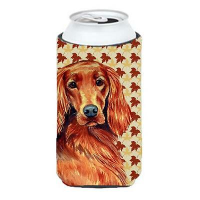 Irish Setter Fall Leaves Portrait Tall Boy Hugger 22 To 24 oz.