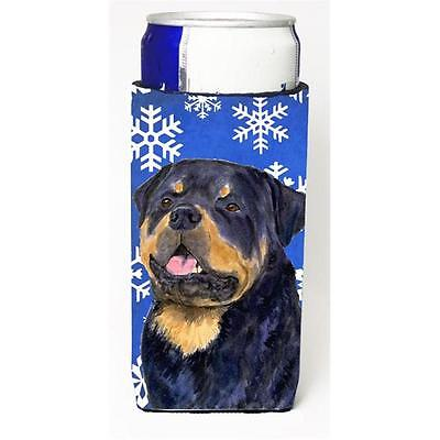 Rottweiler Winter Snowflakes Holiday Michelob Ultra bottle sleeves For Slim C...