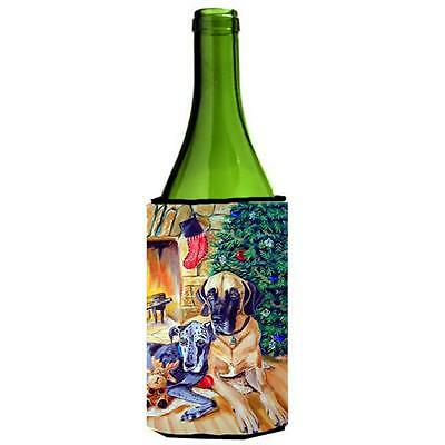 Fawn And Blue Great Dane Waiting On Christmas Wine bottle sleeve Hugger 24 oz.