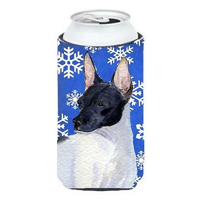 Rat Terrier Winter Snowflakes Holiday Tall Boy bottle sleeve Hugger