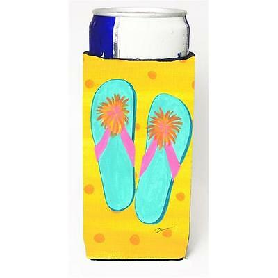 Carolines Treasures Flip Flops Yellow Michelob Ultra bottle sleeve for Slim Can