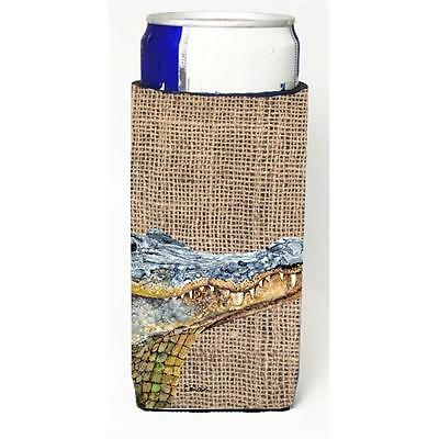 Alligator On Faux Burlap Michelob Ultra bottle sleeves For Slim Cans 12 oz.