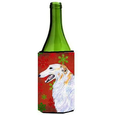 Borzoi Red And Green Snowflakes Holiday Christmas Wine bottle sleeve Hugger 2...