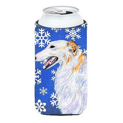 Borzoi Winter Snowflakes Holiday Tall Boy bottle sleeve Hugger