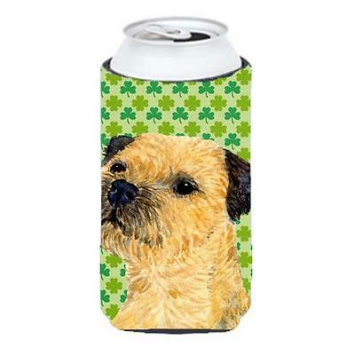 Border Terrier St. Patricks Day Shamrock Portrait Tall Boy bottle sleeve Hugger