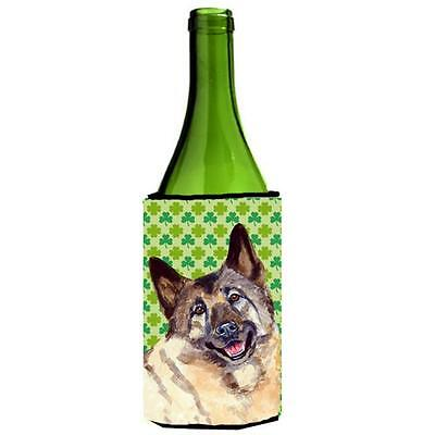 Norwegian Elkhound St. Patricks Day Shamrock Wine bottle sleeve Hugger 24 oz.