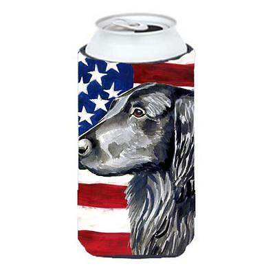 USA American Flag with Flat Coated Retriever Tall Boy bottle sleeve Hugger 22...