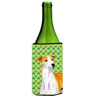 Whippet St. Patricks Day Shamrock Portrait Wine bottle sleeve Hugger