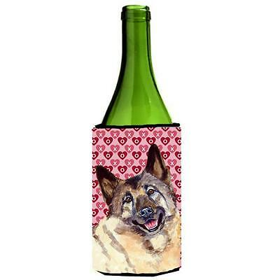 Norwegian Elkhound Hearts Valentines Day Portrait Wine bottle sleeve Hugger