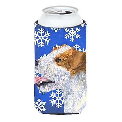 Jack Russell Terrier Winter Snowflakes Holiday Tall Boy bottle sleeve Hugger ...