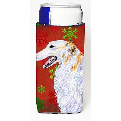 Borzoi Red And Green Snowflakes Holiday Christmas Michelob Ultra bottle sleev...