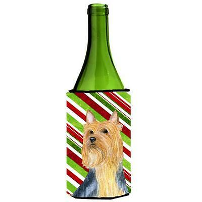Silky Terrier Candy Cane Holiday Christmas Wine bottle sleeve Hugger 24 oz.