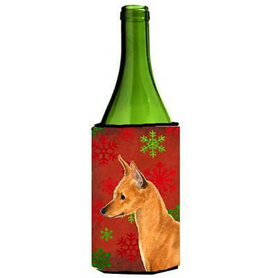 Min Pin Snowflakes Holiday Christmas Wine bottle sleeve Hugger 24 oz.