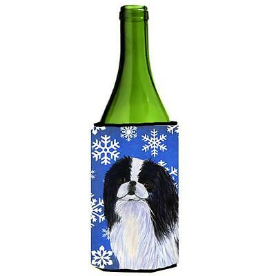 Japanese Chin Winter Snowflakes Holiday Wine bottle sleeve Hugger