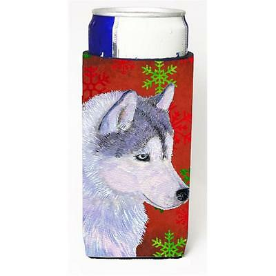 Siberian Husky Red Green Snowflake Holiday Christmas Michelob Ultra bottle sl...