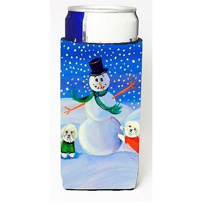 Snowman Bichon Frise Michelob Ultra bottle sleeves For Slim Cans 12 oz.