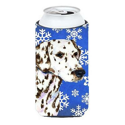 Dalmatian Winter Snowflakes Holiday Tall Boy bottle sleeve Hugger