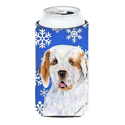 Clumber Spaniel Winter Snowflakes Holiday Tall Boy bottle sleeve Hugger 22 to...