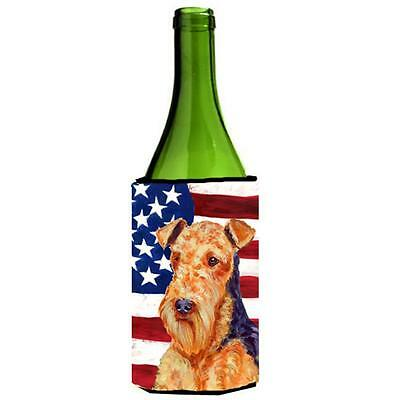 Carolines Treasures Usa American Flag With Airedale Wine bottle sleeve Hugger
