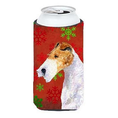 Fox Terrier Red And Green Snowflakes Holiday Christmas Tall Boy bottle sleeve...