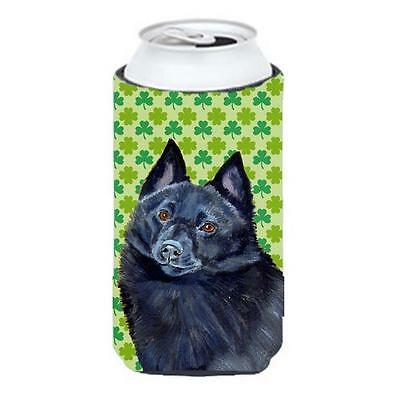 Schipperke St. Patricks Day Shamrock Portrait Tall Boy bottle sleeve Hugger 2...