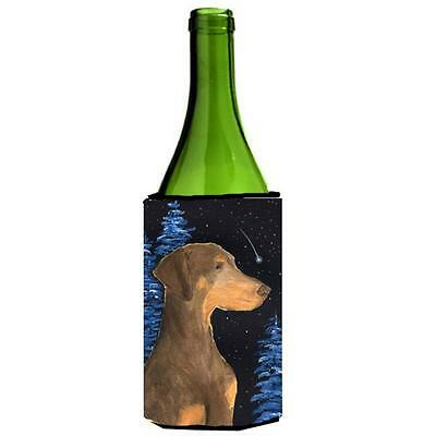 Carolines Treasures Starry Night Doberman Wine bottle sleeve Hugger 24 oz.