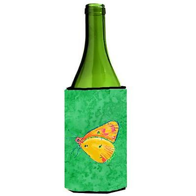 Carolines Treasures Butterfly Orange On Green Wine bottle sleeve Hugger 24 oz.