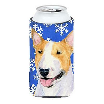 Bull Terrier Winter Snowflakes Holiday Tall Boy bottle sleeve Hugger 22 to 24...
