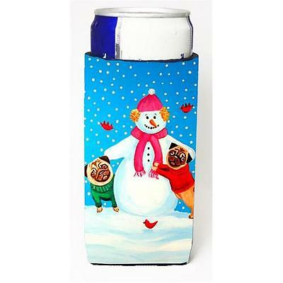 Snowman With Pug Winter Snowman Michelob Ultra bottle sleeves For Slim Cans 1...