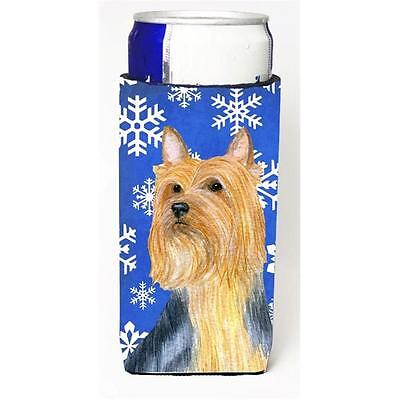 Silky Terrier Winter Snowflakes Holiday Michelob Ultra bottle sleeves For Sli...