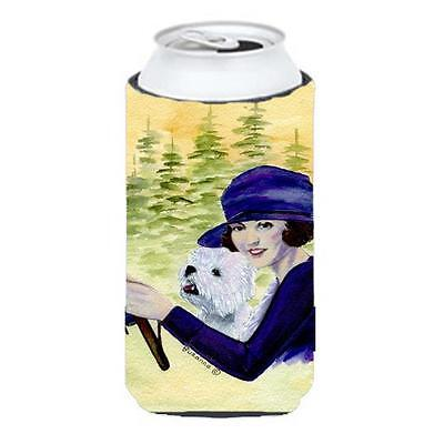 Woman Driving With Her Westie Tall Boy bottle sleeve Hugger 22 To 24 oz.